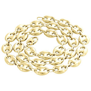dc6aea94409e3 Details about Real 10K Yellow Gold 3D Hollow Puff Gucci Link Chain 12mm  Necklace 22-30 Inches