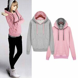 8c4562236f5 Image is loading Korean-Women-Fashion-Hoodie-Sweatshirt-Casual-Hooded-Coat-