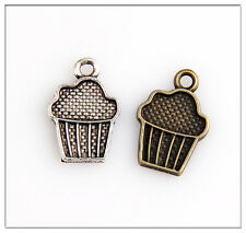 20 Cupcake Tibetan Silver Bronze Charms Pendants Jewelry Making Findings HN261