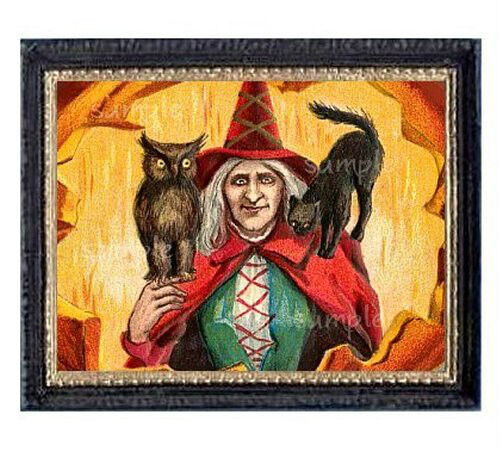 Halloween Cat Witch & Owl Miniature Dollhouse Doll House Picture