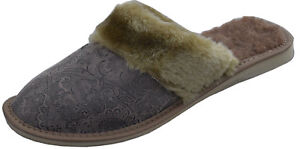 Womens Ladies Natural  Leather Brown Slippers Mules