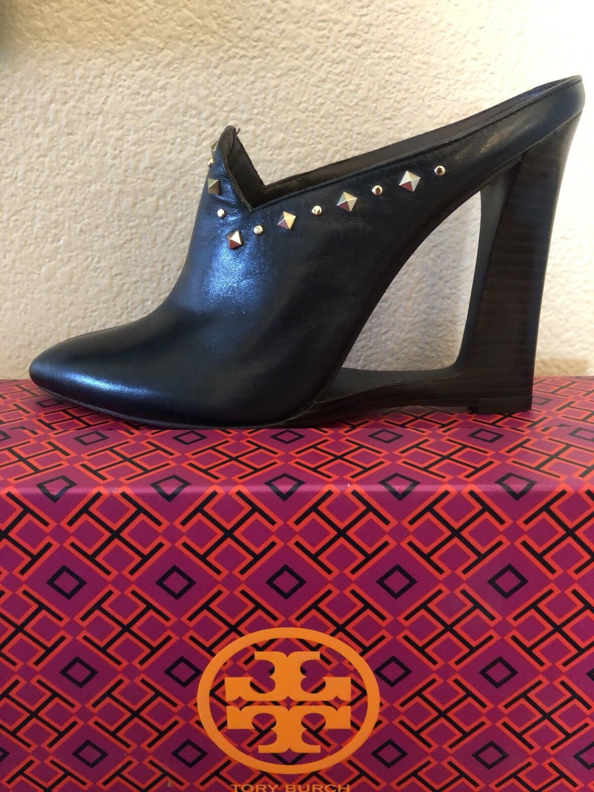 TORY BURCH KINGSBRIDGE STUDDED 110MM MULE   NAVY StiefelIE TORY NAVY  damen SZ 7  495 f09101