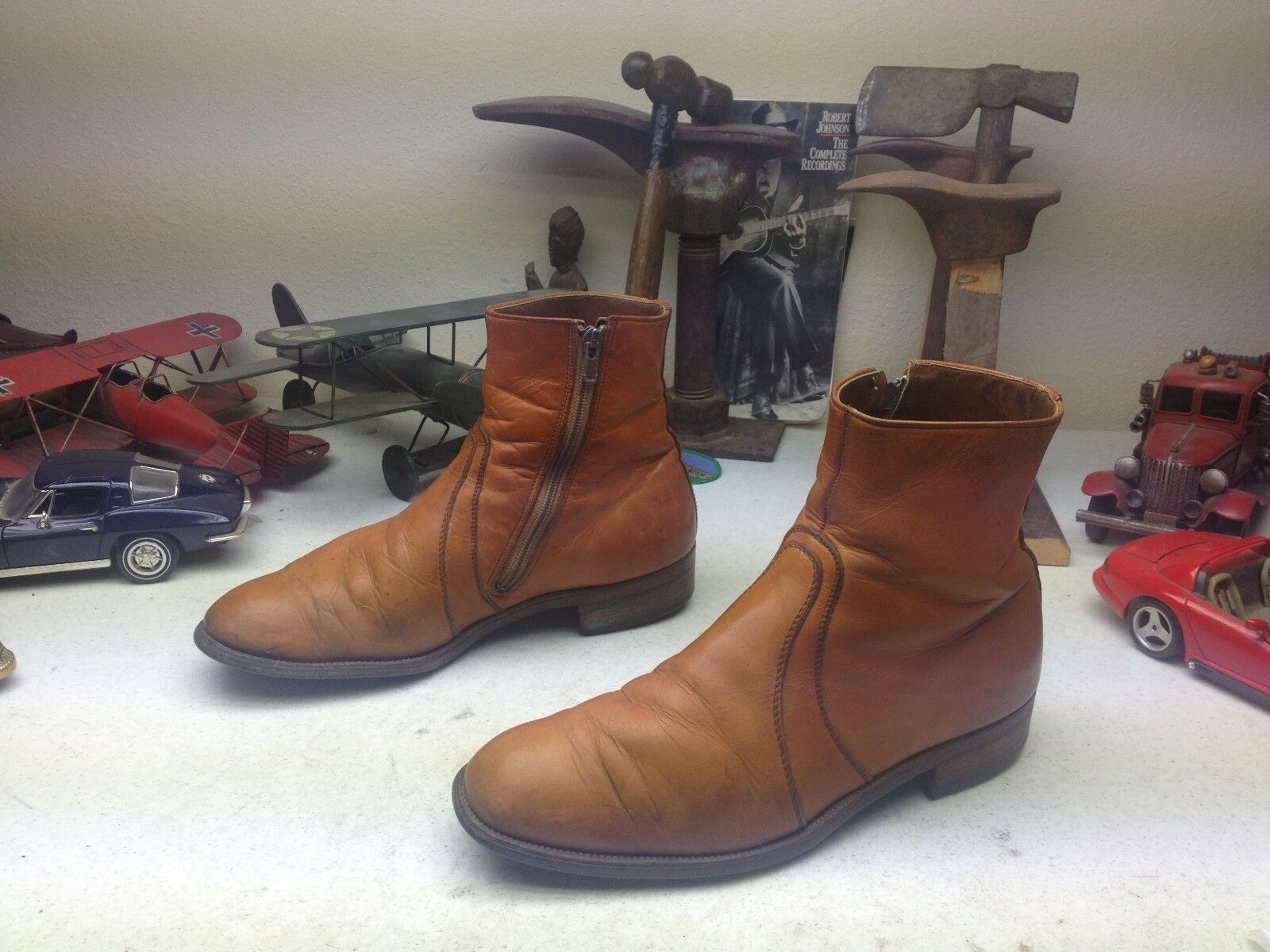 VINTAGE DISTRESSED BEATLE USA BROWN LEATHER ZIP UP ENGINEER BOSS BEATLE DISTRESSED DISCO Stiefel 10D e2a43e