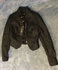 C. Luce Women's Faux Leather Solid Black Moto Jacket Zip Front Lined Size Small