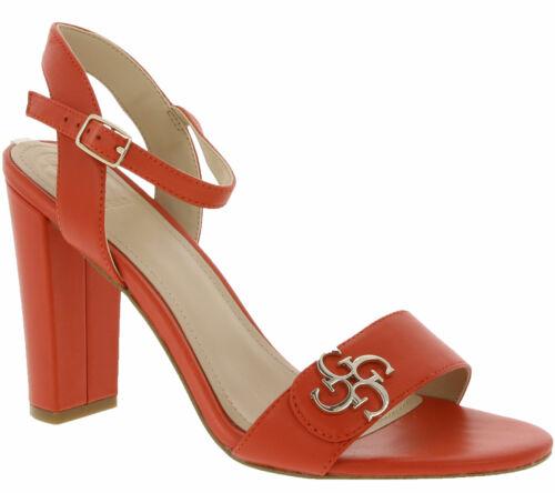 GUESS Schuhe Pumps modische Damen Echtleder Absatz-Sandaletten 4G-Logo Orange
