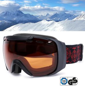 SKIBRILLE-FTWO-fuer-Skihelm-orange-getoent-S2-snowboard-Brille-universell-yx-F2