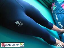 ADIDAS TEAM GB ISSUE- TRAINING FOR RIO IN 2016 - ATHLETE NAVY BLUE 3/4 LEGGINGS
