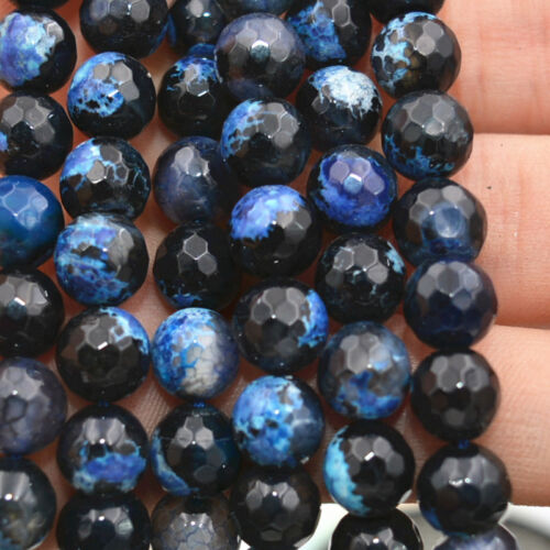 """8mm Faceted blue Multicolor Fire Agate Gems Round Loose Beads 15 /""""AA"""