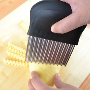 Potato-Wavy-Cutter-Stainless-Steel-Vegetable-Chip-French-Fries-Slicer-Crinkle-US