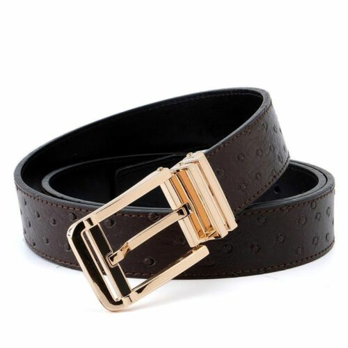 Ostrich Pattern Belt Gold Buckle Animal Pattern Men/'s Belts Accessories Style