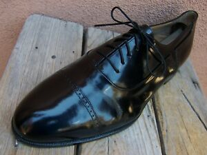 Bally-Homme-Chaussures-Cuir-Noir-Lacets-Italien-Cap-Toe-derbies-taille-9EEE