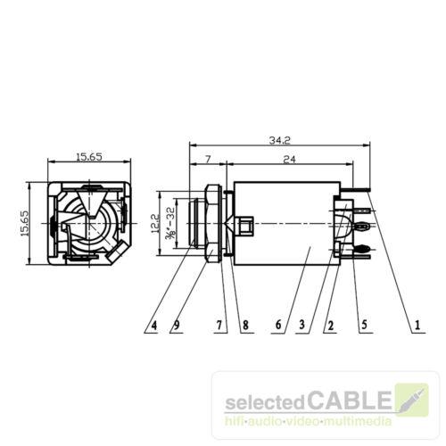 HICON 6,3mm Klinke 2-pol Einbaubuchse vertikal Löttechnik AudioHI-J63M-PVM