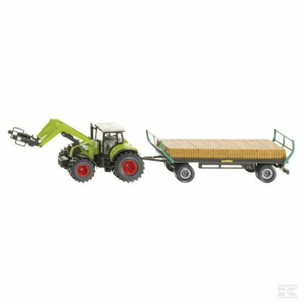 Siku Claas Axion With Bales & Trailer 1 50 Scale Model Toy Present Gift