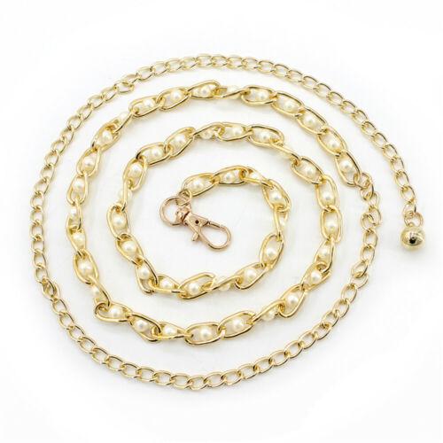 Women Imitation Pearl Thin Waist Chain Belt Waistband Strap Dress Accessories