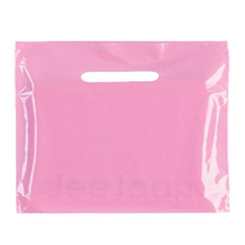500 Rose Clair Plastique Sacs forte 22 x18 +3  Patch Poignée cadeau de détail