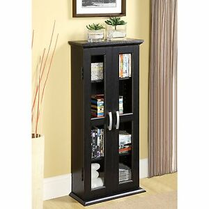 Details About Black Media Storage Cabinet 41in Tall 3 Shelf Gl Pane 2 Door Living Room New