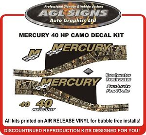 Details about 1999 2000 2001 2002 2003 2004 MERCURY Camo 40 HP Outboard  Decal kit 50 HP