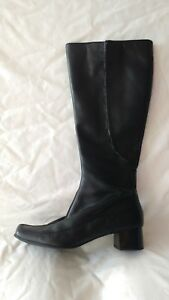 feb4e3eaa36 Image is loading Womens-Ladies-Clarks-Black-Leather-Knee-High-Boots-