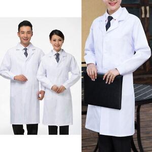 e48e7ba5fc1 Men Women Long Sleeve White Scrubs Lab Coat Medical Doctors Nurses ...