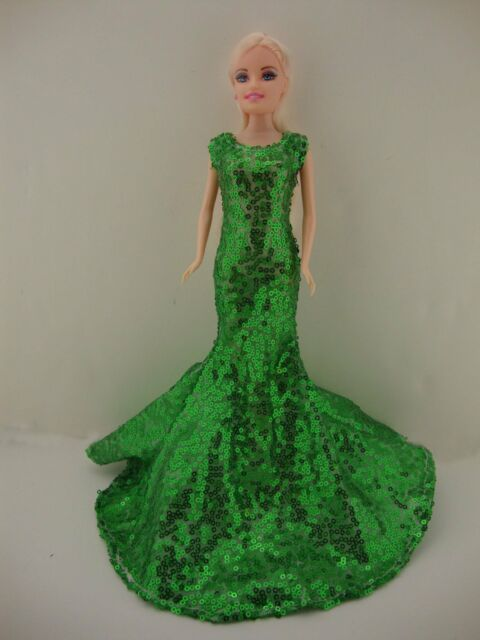 Awe Inspiring Green Sequined Mermaid Gown Made to Fit Barbie Doll | eBay