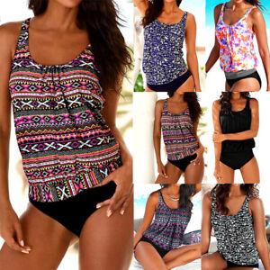 407052e17a2 Image is loading Women-Tankini-Bikini-Set-Push-up-Floral-Swimsuit-