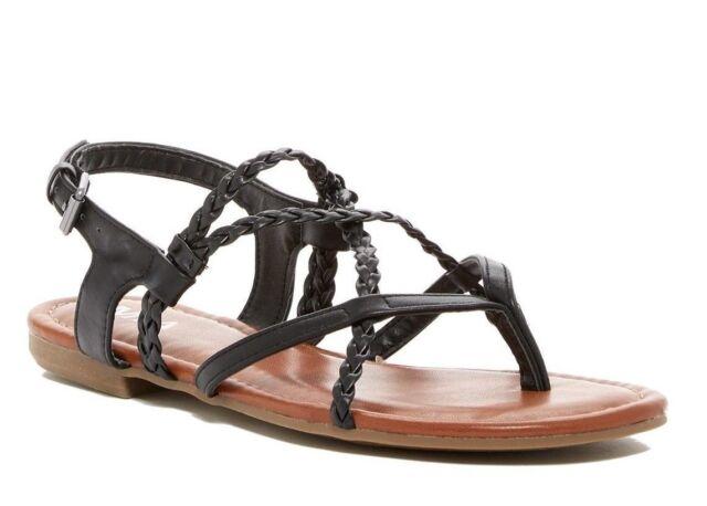 448187d53ce Women MIA Dannie Black Adjustable Buckle Strap Flat Sandal Shoes 7 ...