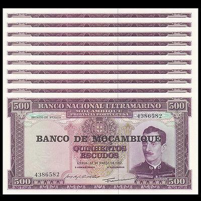 UNC Lot 10 PCS 1//10 Bundle 1967 P-118 Mozambique 500 Escudos
