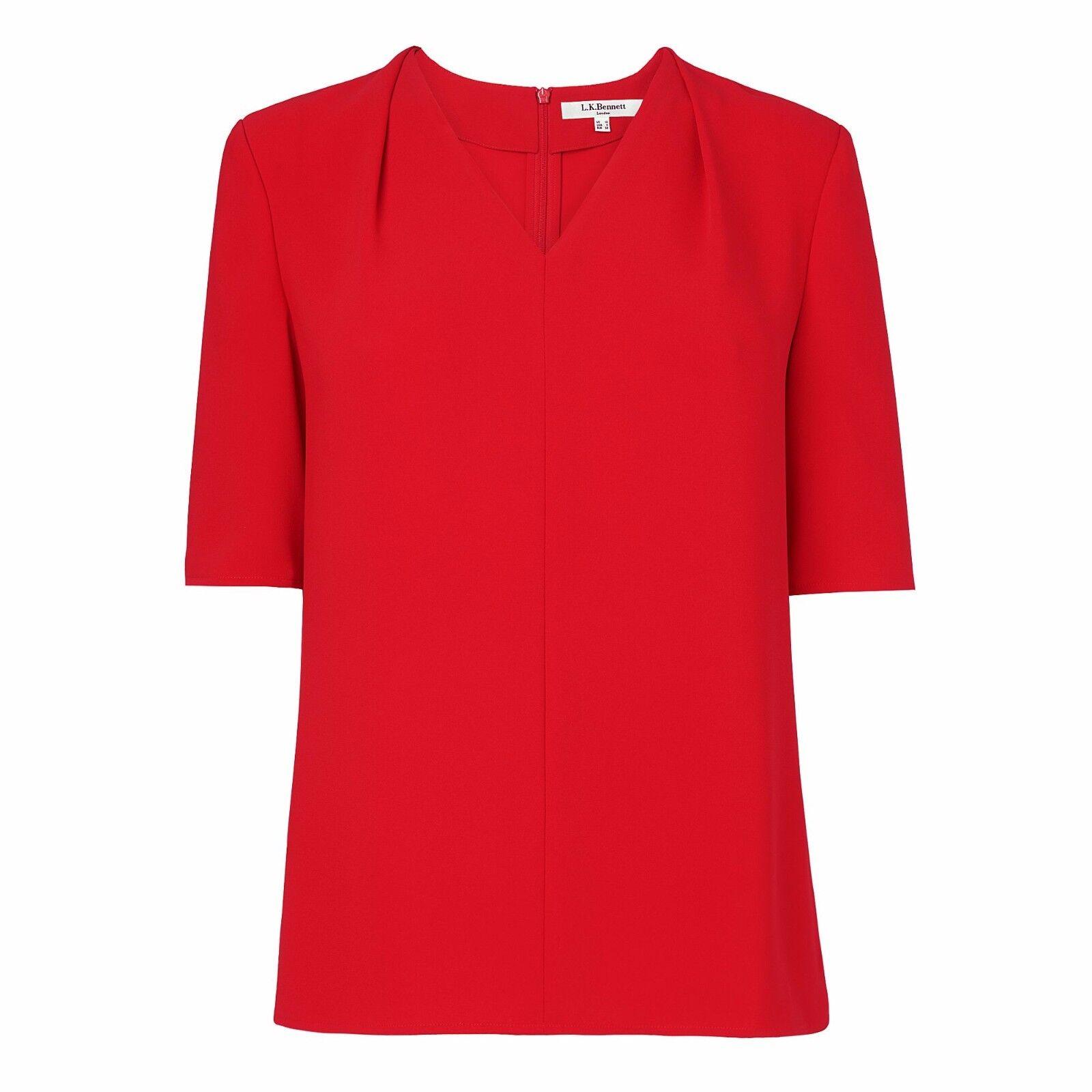 L.K.Bennett Women's Red Arlo Loose Fit Top - size