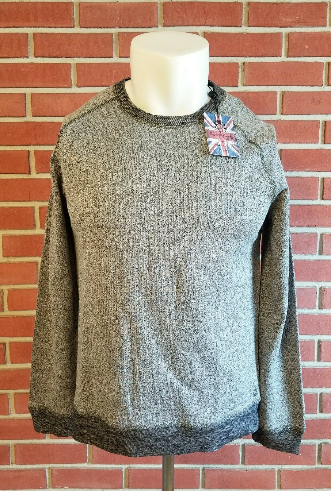 NWT English Laundry Long Sleeve Crewnect Sweatshirt grau  Herren Large Cotton Blend