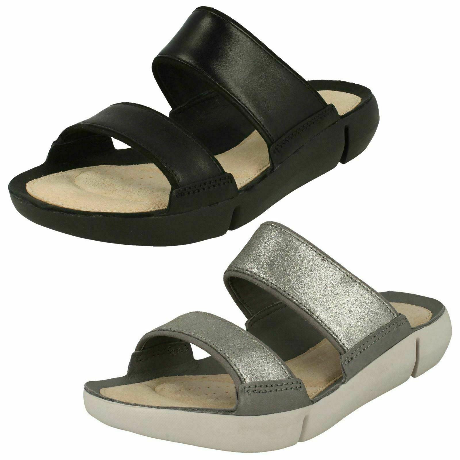 Damänner Clerchen Drei Sara Silber oder Schwarz Leder Pantoffeln Sandalen - D Einbau