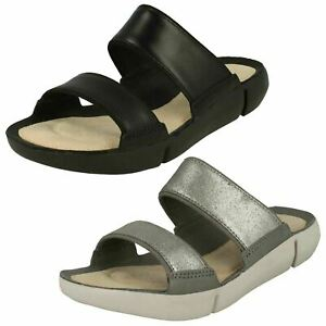 41758fdfb9c Ladies Clarks Tri Sara Silver Or Black Leather Mule Sandals - D ...