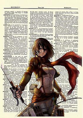 Mikasa Attack On Titan Anime Dictionary Art Print Poster Picture Book Manga