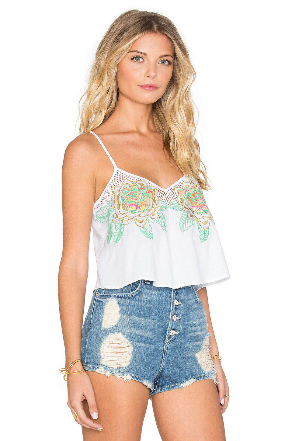 Y  MARA HOFFMAN Weiß FLORAL EMBROIDErot CROP TOP Rosa Grün XS EXTRA SMALL