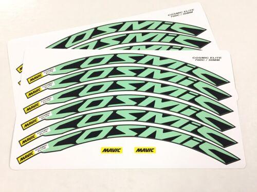 Cosmic Elite Wheel Decals//Stickers for 30mm CELESTE GREEN//Bianchi 12