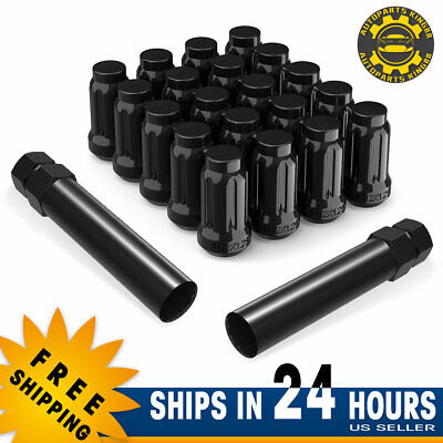 Hex Autoparts 20pcs 12x1.25 Black Wheel Lug Nuts+1 Lock Key for Nissan Altima Subaru Infiniti M35