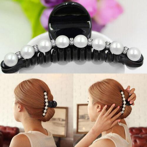 Femmes perle cristal pince à cheveux pince griffe bandeau accessoire de cheveuDI