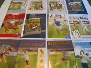 PACK OF MENS BIRTHDAY CARDS 12 MALE ALL SPORTS  SPORTING OPEN BIRTHDAY CARDS #