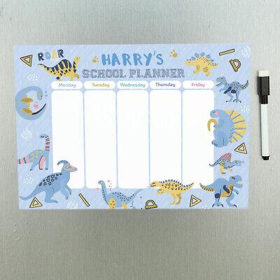 Personalised Dinosaur Magnetic School Homework Wall Planner Whiteboard With Pen Ebay