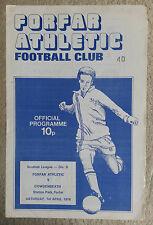 Forfar Athletic v Cowdenbeath Scottish Division Two 1977 - 1978