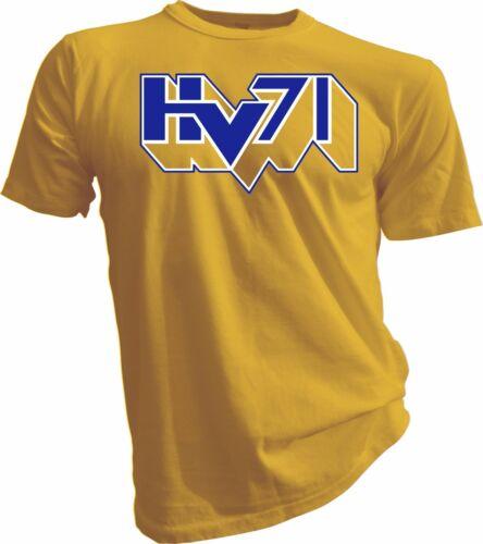 HV71 SHL Jönköping Sweden Professional Hockey yellow T-SHIRT Swedish Tee Men