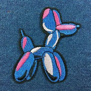 Bleu-Violet-Ballon-Chien-Brode-Patch-Thermocollant-a-Coudre