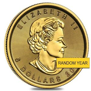 1-10-oz-Canadian-Gold-Maple-Leaf-5-Coin-Random-Year