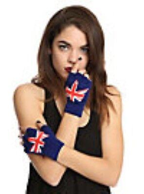 Dr Doctor Who Inspired Union Jack Fingerless Knit Gloves NEW