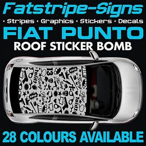Fiat Punto Graphique Vinyle Autocollant Bombe toit decals stickers Evo Grande Abarth