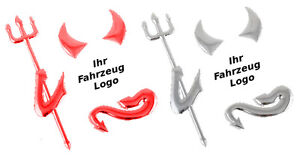 WOW-3D-Teufel-Sticker-2er-Set-Devil-chrome-amp-rot-Emblem-Diesel-Benziner-LPG-Gas