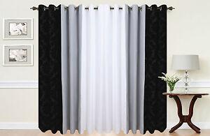 paar von damast 3 farben vollst ndig gef tterte sen vorh nge in schwarz wei ebay. Black Bedroom Furniture Sets. Home Design Ideas