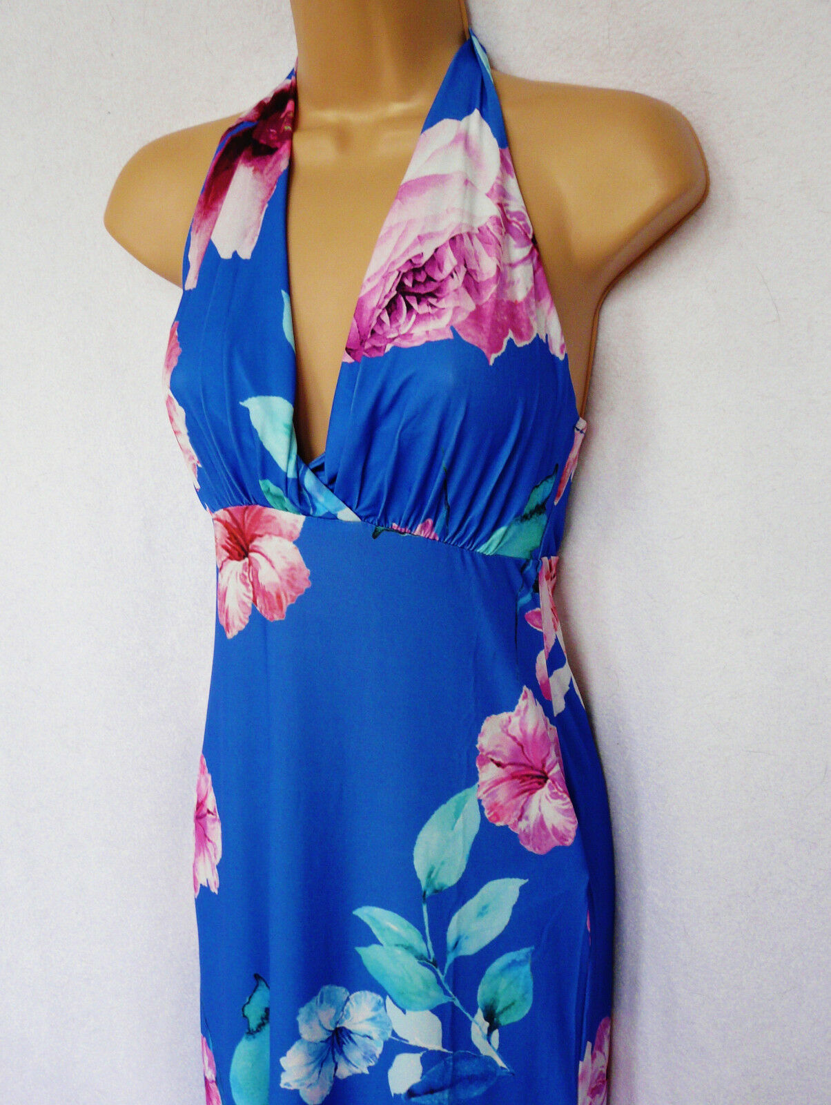 LIPSY jersey summer bright bluee floral bold  Hawaii cruise hoilday maxi dress