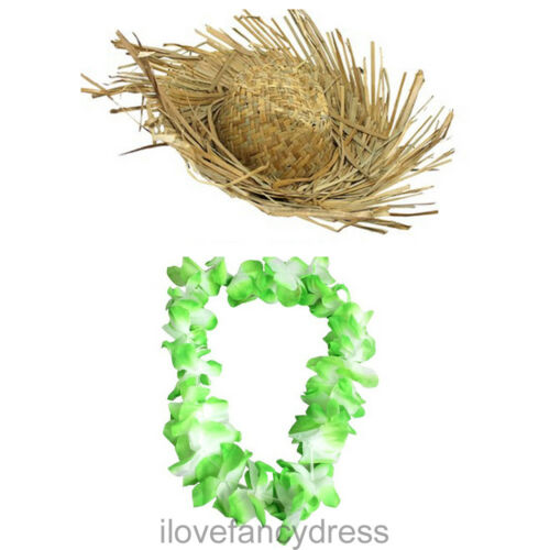 Paille beachcomber chapeau et vert hawaïen fleur lei summer fancy dress costume