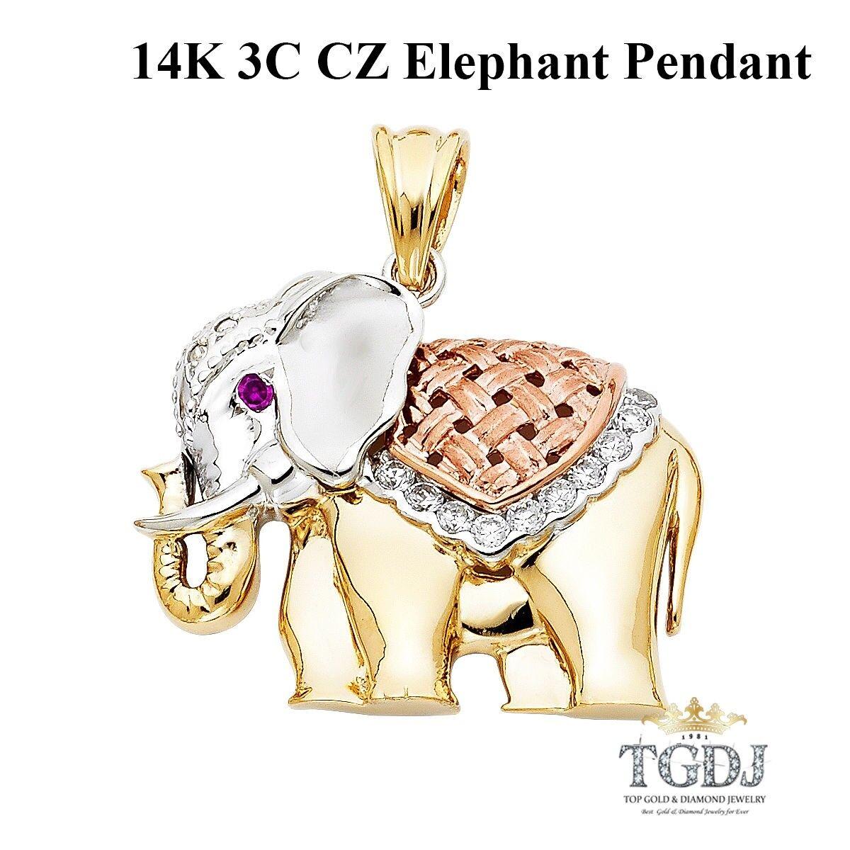 14K 3C CZ Elephant Pendant Height 27 MM Width 33 MM