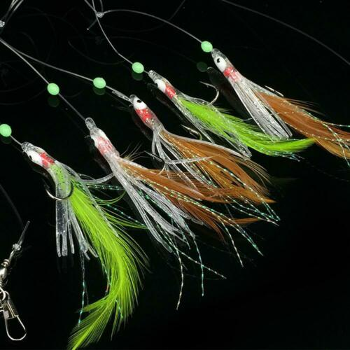 5pcs Fishing Lures Flasher Rigs Fish Skin Bait Catching Rigs New Y7 L5X7 Fi L0Z1